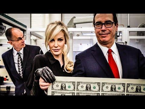 Treasury Secretary And Bond Villian Wife Pose With Giant Sheet Of Money
