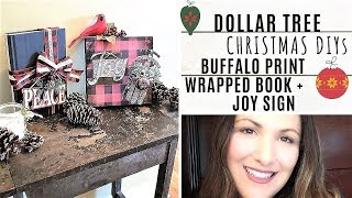 Dollar Tree BUFFALO CHECK PRINT Christmas DIYs
