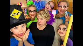 Family Unboxing Room! Learn English Words with Sign Post Kids! Funny Glasses!
