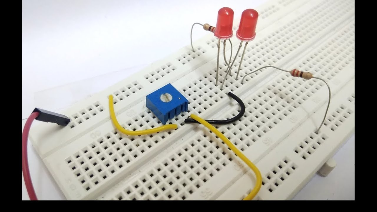 How To Control 2 Leds By A Variable Resistor Youtube