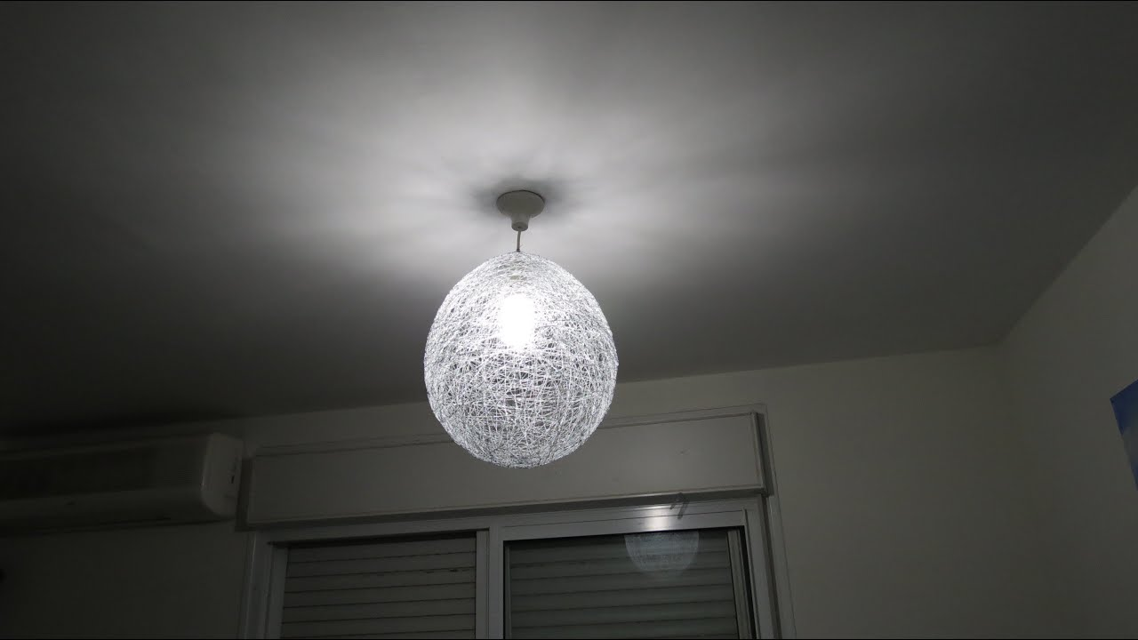 How To Make Stringyarn Ball For The Lamp YouTube - Diy cloud like yarn lampshade