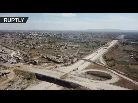 Беспилотник пролетел над отвоёванной у террористов главной автомагистралью Дамаска