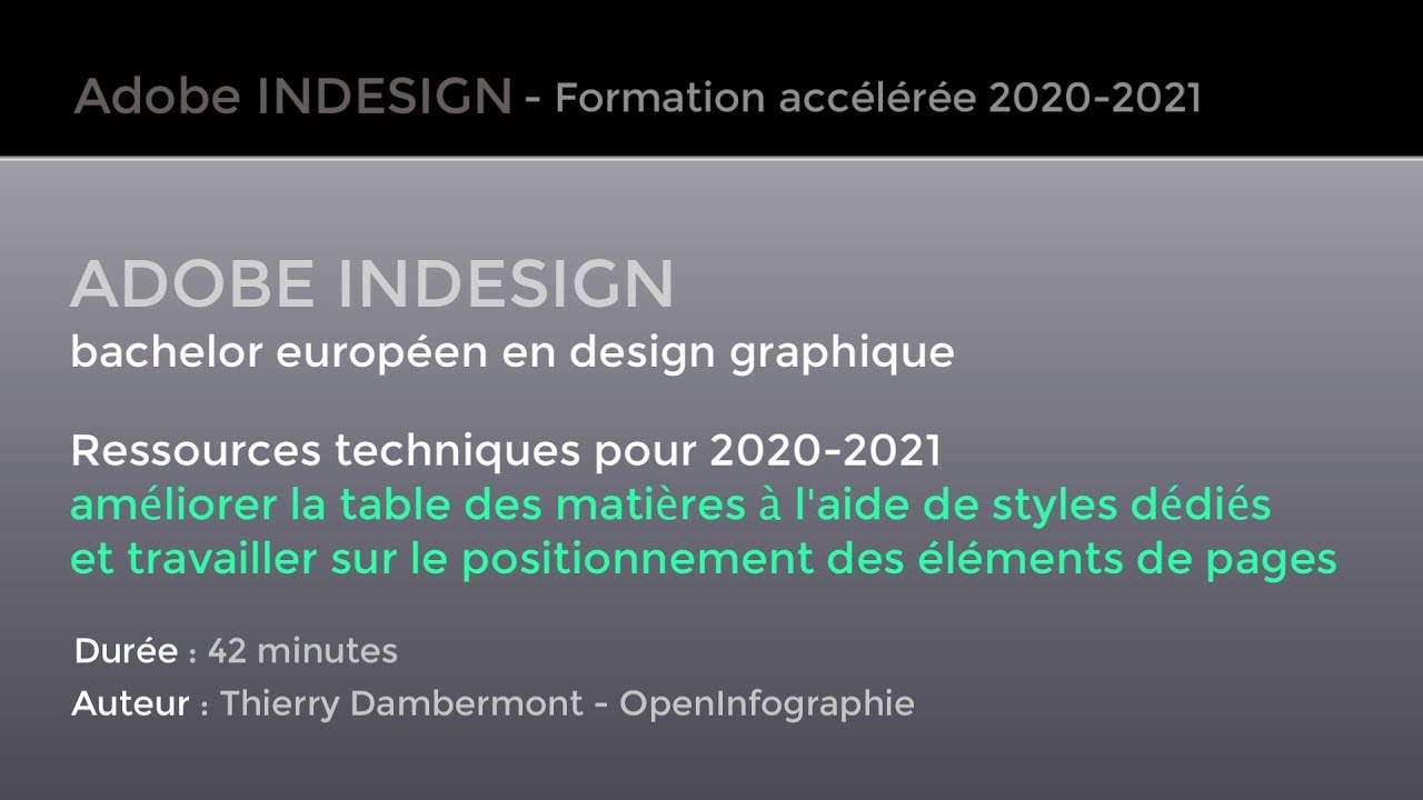 Adobe Indesign Styles Table Matieres Et Positionnement Elements