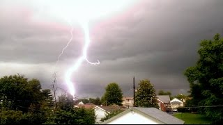 7/01/2015 -- EPIC LIGHTNING in St. Louis Missouri -- Strikes multiple times nearby