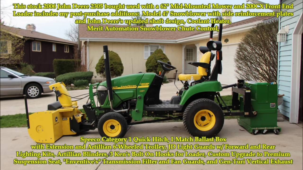 John Deere 2305 and 47 Blower with Merit Automation Chute Control