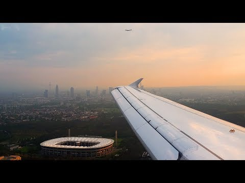 Stunning Morning Landing at Busy Frankfurt Airport - Lufthansa Airbus A320 Swingover