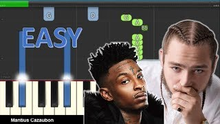 Post Malone - Rockstar ft.  21 Savage - Easy Piano Tutorial