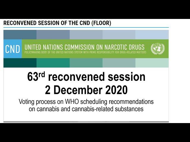 UN Voting on Cannabis 02. December 2020 Recommendation 5.4, Part 2