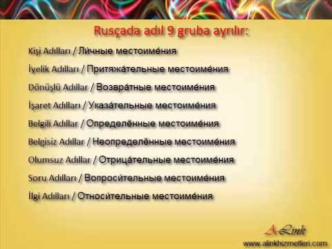 Rusça Gramer Notları. 1. Not. Kişi Adılları.