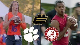 Highlights from Clemson quarterback, Trevor Lawrence, and Alabama QB Tua Tagovailoa at the Elite 11 camp. Subscribe to NFL: http://j.mp/1L0bVBu Check out ...