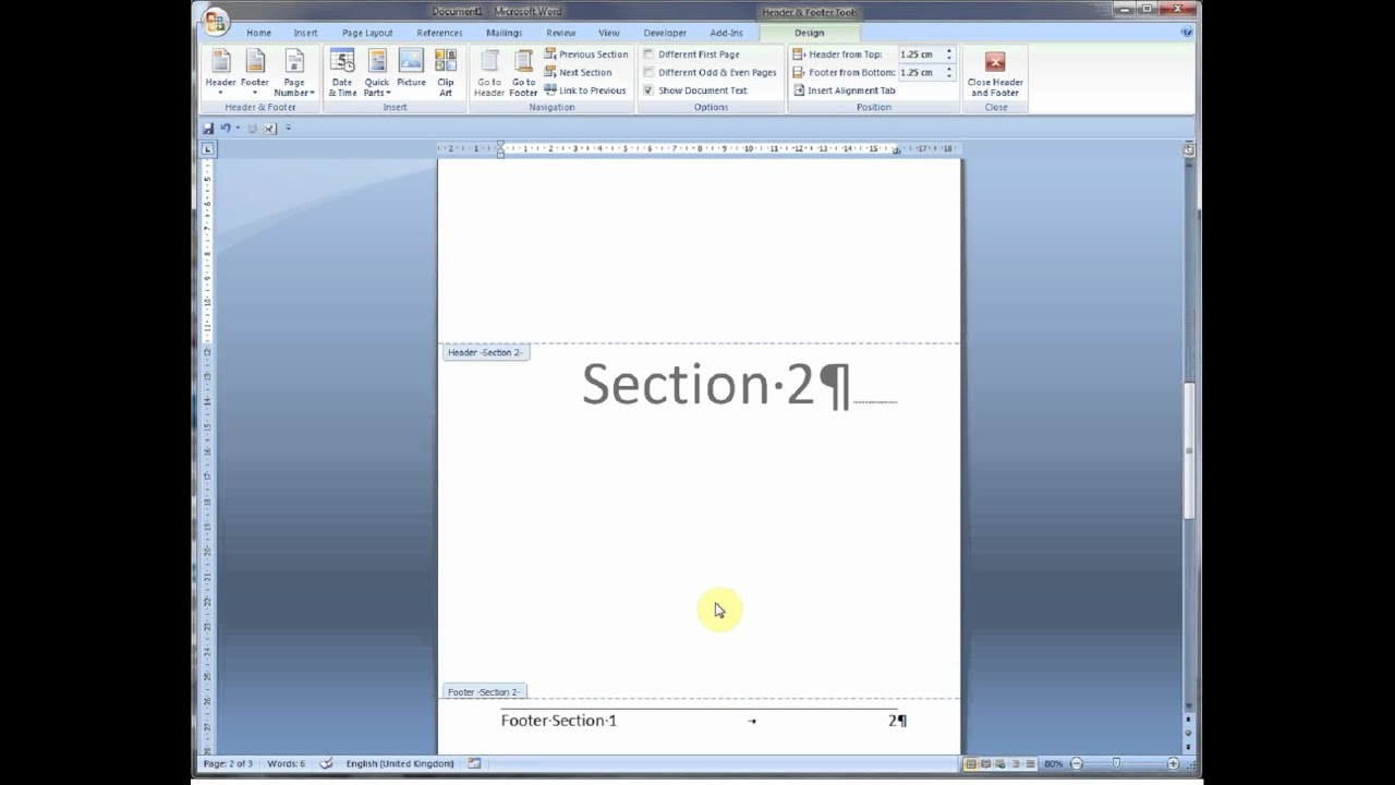 Insert section breaks in Word 2007 and 2010 - YouTube