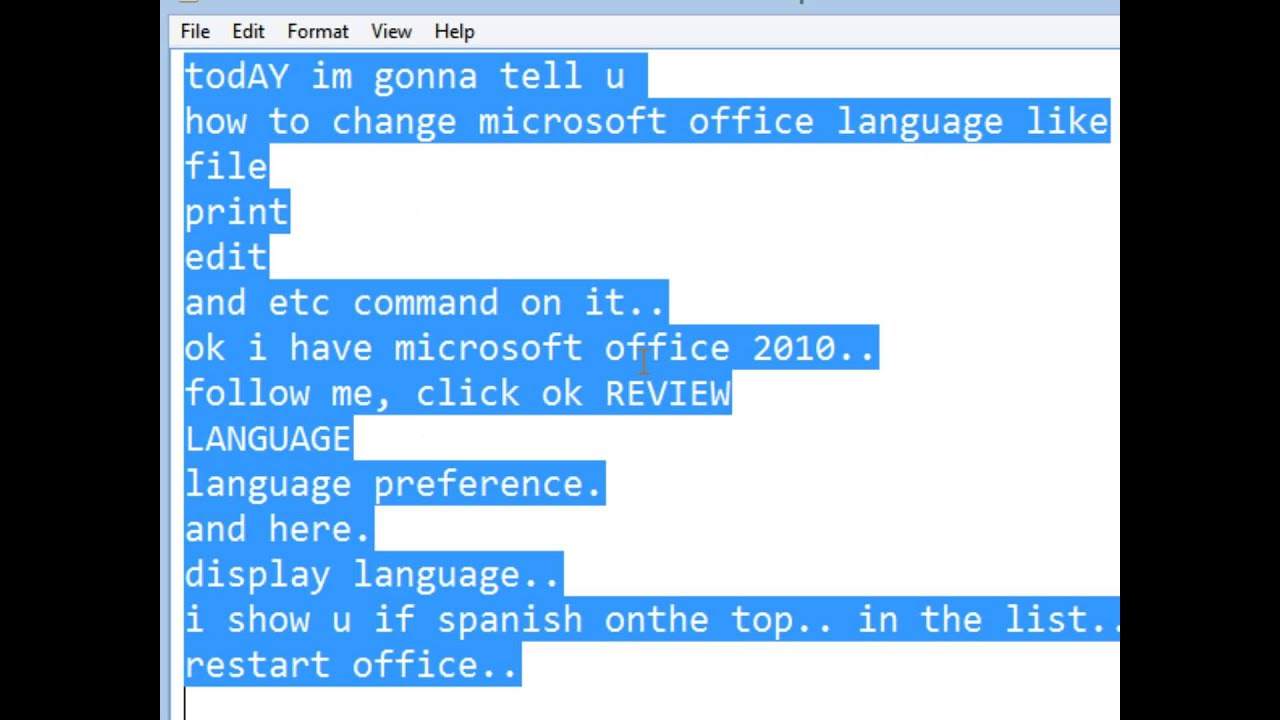 how to change the office language