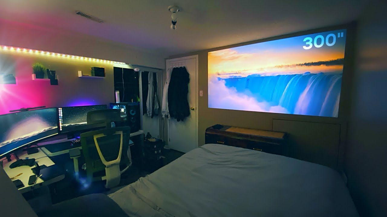 Under 200 Budget Projector Bedroom Setup Best Cheap 1080p Projector Youtube