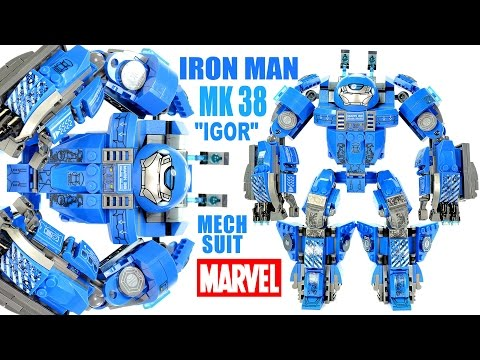 "Iron Man Mark 38 ""Igor"" Heavy Lifting Mech Suit Unofficial LEGO KnockOff Set W/ Tony Stark"