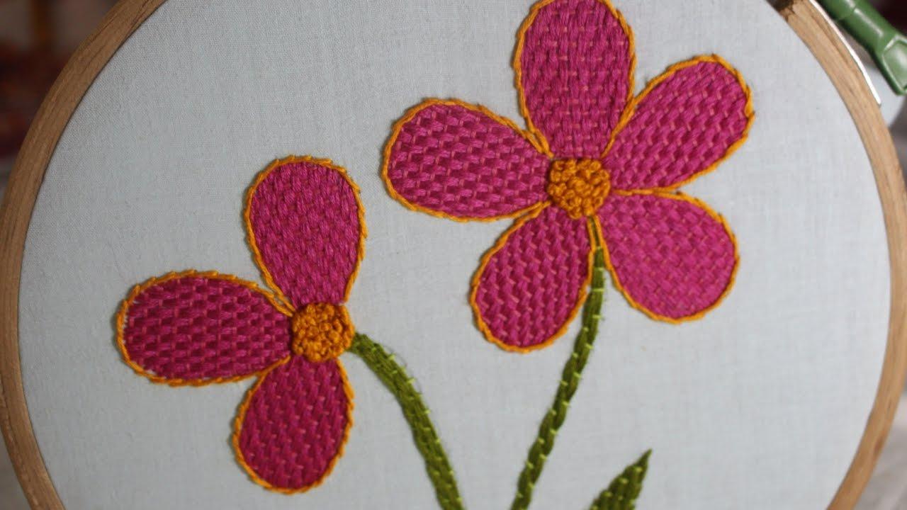 Hand Embroidery Designs Checkered Flower Stitch Stitch