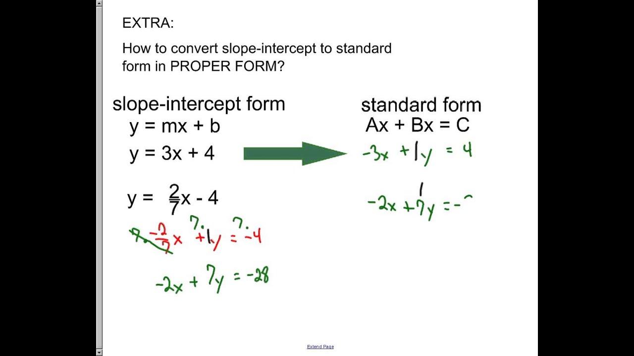 Slope intercept form to standard form choice image standard form bonus convert to proper standard form youtube bonus convert to proper standard form falaconquin falaconquin