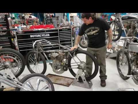 Billy Lane handstarts 1915 Harley boardtrack racer Sons of Speed