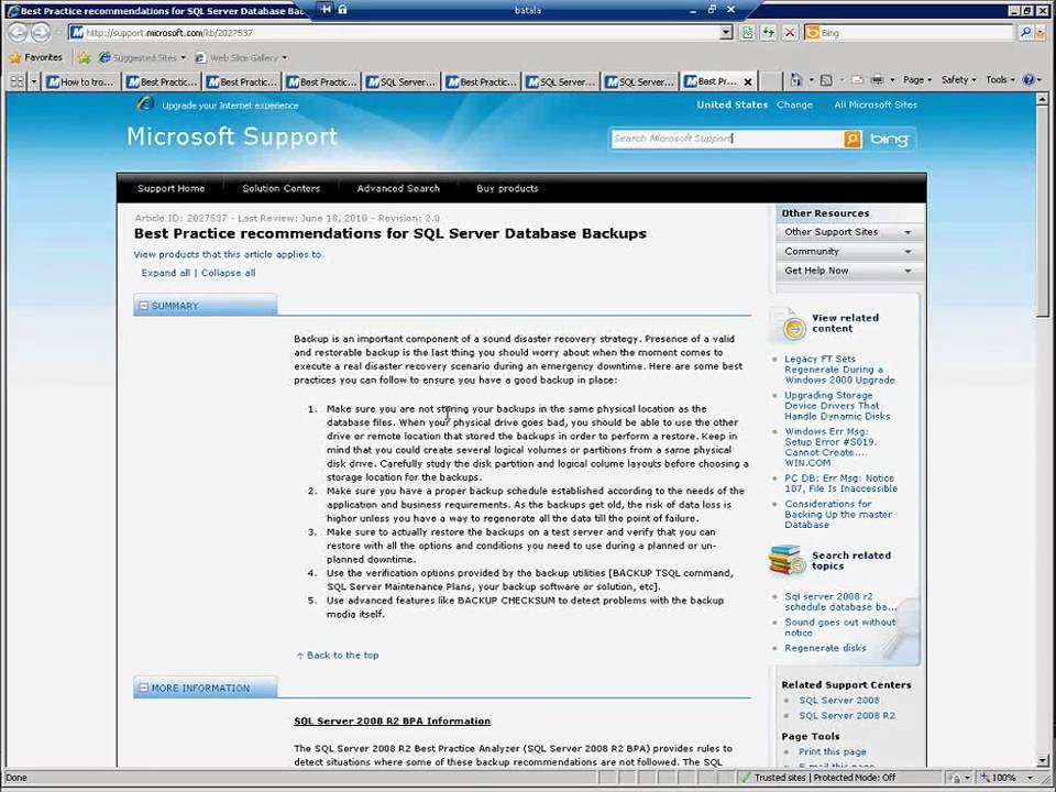 SQL Server 2008 R2 Best Practice Analyzer(BPA) - YouTube