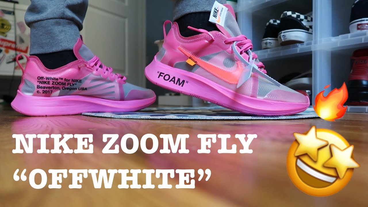"""a44a9527b4c71 NIKE ZOOM FLY """"THE 10 OFFWHITE"""" PINK REVIEW ON FOOT😍🤩 - YouTube"""