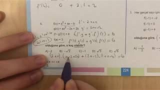 345 AYT Matematik TÜREV-I Test-8 Anlatımlı Çözümleri (2018-2019 basım)