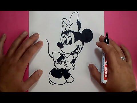 Como dibujar a Minnie Mouse paso a paso  Disney  How to draw