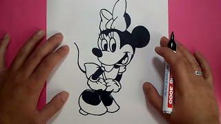 Como dibujar a Minnie Mouse paso a paso - Disney | How to draw Minnie Mouse - Disney