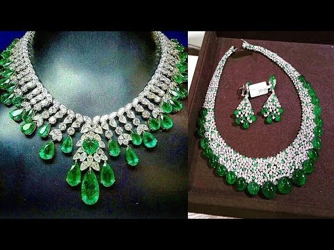 Gorgeous Emerald Diamond Necklace Design