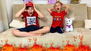 Ева и Алекс играют в Пол это лава челлендж! the floor is lava