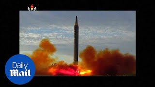 North Korea's TV KRT shows footage of latest missile launch - Daily Mail