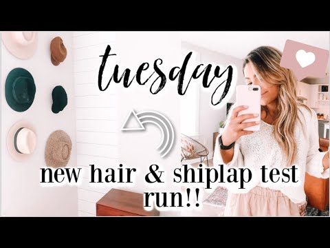 TUESDAY IN MY LIFE | I got my hair done & shiplap wallpaper test run!
