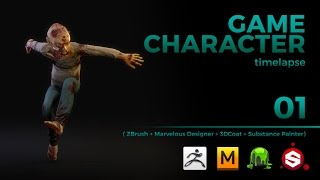 GAME CHARACTER TIMELAPSE | ZBRUSH, MARVELOUS DESIGNER, 3DCOAT and SUBSTANCE PAINTER  - pt 01