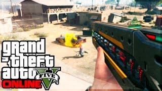 GTA 5 Rail Gun How To Obtain it! Use The Rail Gun In Free Roam! (GTA 5 First Person Gameplay)