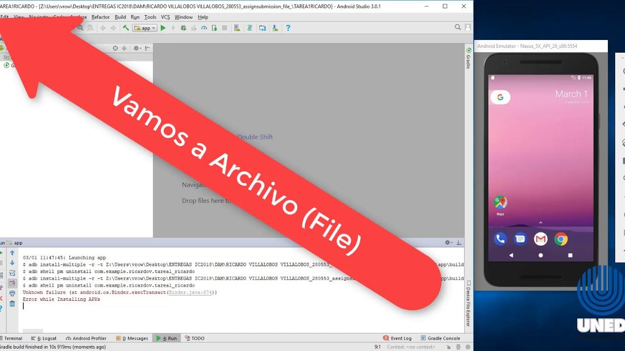 UNED-Error Application Installation Failed en Android Studio