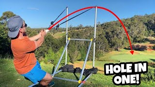 WE GOT A HOLE IN ONE with a SLINGSHOT!!