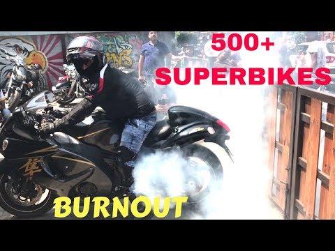 DELHI'S SUPERBIKE EVENT | HAYABUSA STUNTS | 500+ SUPERBIKES