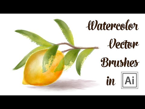 Watercolor Drawing With Vector Brushes - How To Draw A Lemon With Leaves In Adobe Illustrator
