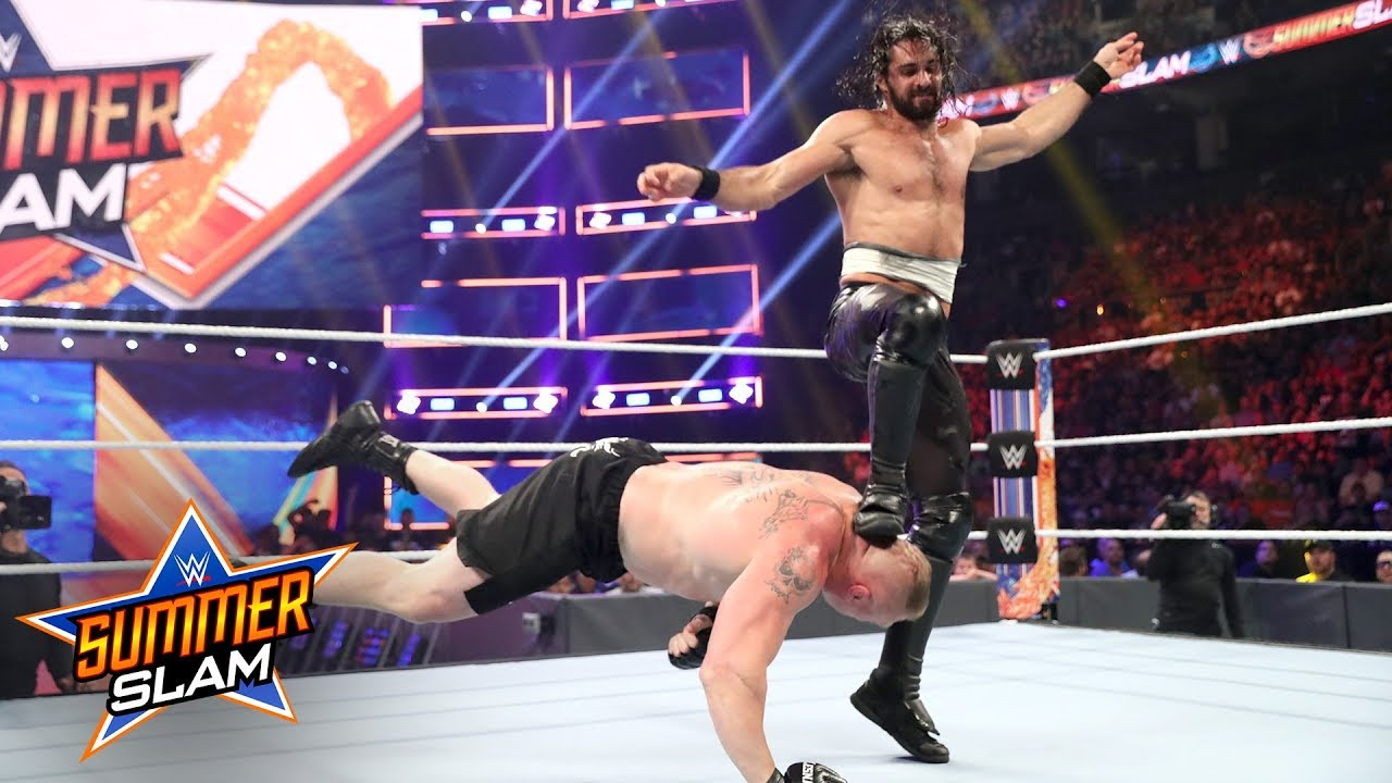 Image result for Seth Rollins frog splash brock Summerslam