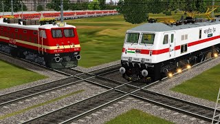 2 Trains Crossover Each Other at India's Famous Diamond Crossing Of Indian Railways