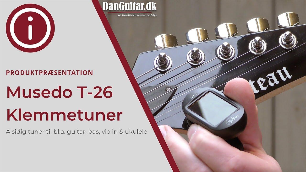 Lær at stemme guitar, bas, ukulele og andre strengeinstrumenter med en Musedo T-26 klemmetuner