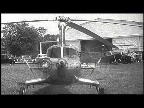 Pitcairn test pilots demonstrate an autogyro that hops off the ground before star...HD Stock Footage
