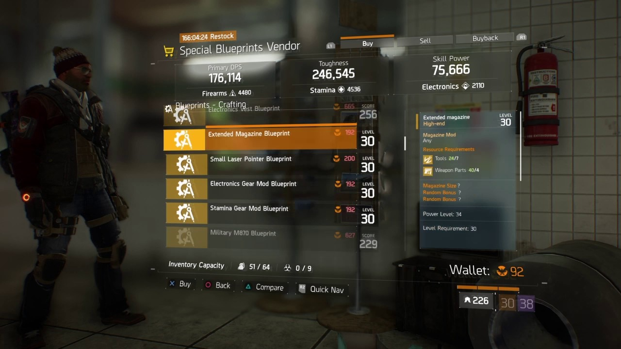 The Division Special Blueprint Vendor Restock Dec,2 2016