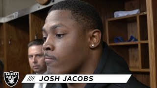 Josh Jacobs Reacts to Becoming First Raiders Rookie to Rush for 1,000 Yards