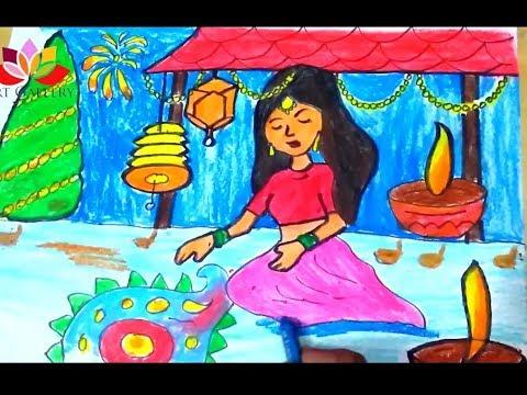 Girl Painting Rangoli Colouring Page | 360x480