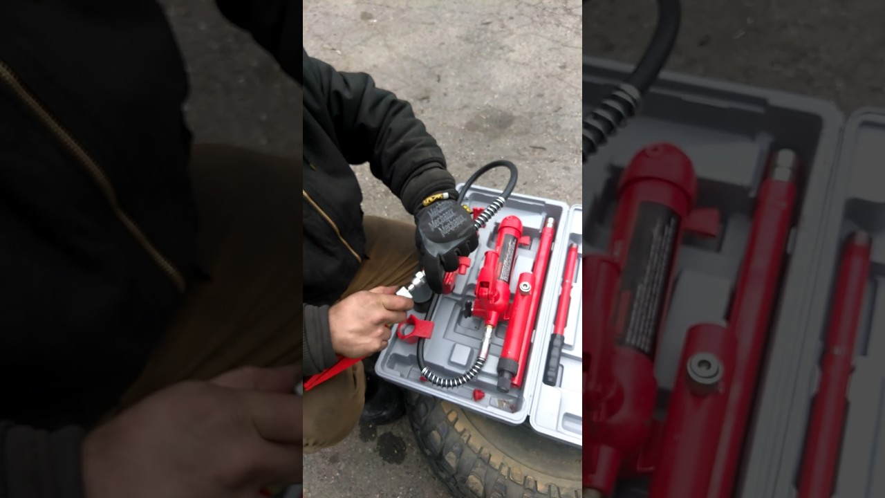 Hydraulic body frame repair kit - connecting situation - YouTube