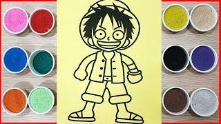 Đồ chơi trẻ em TÔ MÀU TRANH CÁT ONE PIE LUFFY - Colored sand painting one piece (Chim Xinh)