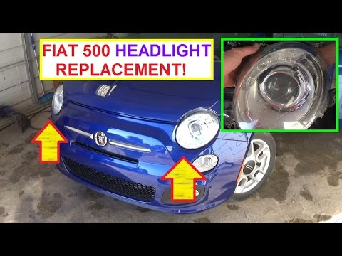 how to remove and replace left right headlight on fiat 500 2008 2016