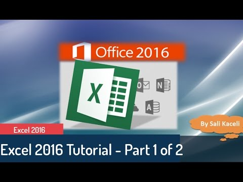 Excel Tutorial 2016: Excel  Part 1 of 2 - Beginner to Interm