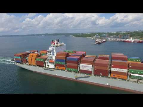 Aerial Video - Container Ship BERLIN BRIDGE Outbound Port of Halifax