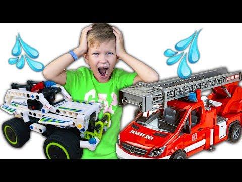 Дети играют в машинки для мальчиков. Пожарная машина и  машинка полиция #машинки