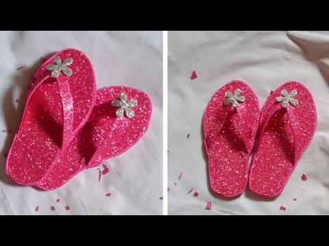 Diy glitter foam sheet slipper|glitter foam sheet craft|diy paper slipper|The easy art